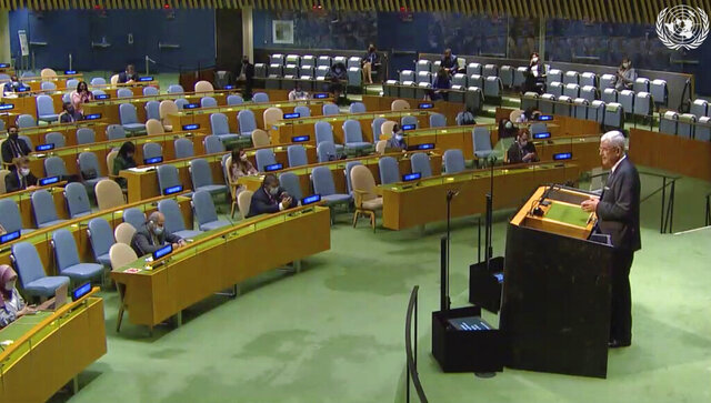 In this frame grab made from UNTV, U.N. General Assembly President Volkan Bozkir closes the High-Level Meeting on the 25th Anniversary of the Fourth World Conference on Women, Thursday, Oct. 1, 2020, at UN headquarters. (UNTV Via AP )