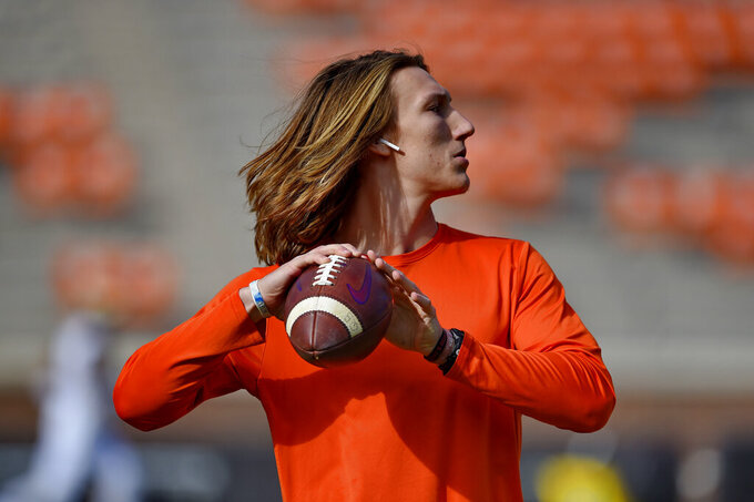 Clemson quarterback Trevor Lawrence during warm ups before an NCAA college football game against Wake Forest, Saturday, Nov. 16, 2019, in Clemson, S.C. (AP Photo/Richard Shiro)