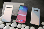 In this Tuesday, Feb. 19, 2019, photo from left are the new Samsung Galaxy S10, the S10+ and the S10e during a product preview in San Francisco. (AP Photo/Eric Risberg)