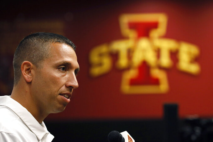 "FILE - In this Aug. 1, 2019, file photo, Iowa State coach Matt Campbell speaks during his team's annual NCAA college football media day in Ames, Iowa. No. 21 Iowa State (8-5 in 2018) open on August 31 at home against Northern Iowa of the FCS, with sunny skies and temperatures in the mid-70s in the forecast for kickoff. The Cyclones then get a bye _ and an extra week to evaluate themselves _ before hosting 20th-ranked Iowa on Sept. 14. ""I love it,"" Iowa State coach Matt Campbell said about having a bye during the second week of the season.(AP Photo/Charlie Neibergall, File)"