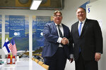US Secretary of State Mike Pompeo, right, takes part in a bilateral meeting with Finland's Foreign Minister Timo Soini at the Lappi Areena, Tuesday, May 7, 2019, in Rovaniemi, Finland. (Mandel Ngan/Pool Photo via AP)