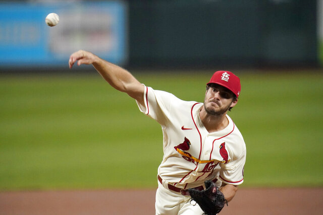 St. Louis Cardinals starting pitcher Dakota Hudson throws during the first inning of a baseball game against the Cincinnati Reds Saturday, Sept. 12, 2020, in St. Louis. (AP Photo/Jeff Roberson)
