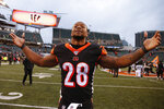 Cincinnati Bengals running back Joe Mixon celebrates after an NFL football game against the New York Jets, Sunday, Dec. 1, 2019, in Cincinnati. (AP Photo/Gary Landers)