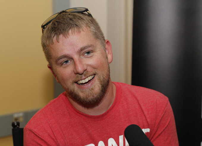 NASCAR Xfinity Series driver Justin Allgaier talks to media at Chicagoland Speedway in Joliet, Ill., Friday, June 28, 2019. (AP Photo/Nam Y. Huh)