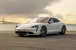 This undated photo provided by Porsche shows the 2020 Porsche Taycan, Porsche's first all-electric car. (Manuel Hollenbach/Porsche Cars North America via AP)