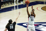 Connecticut forward Aubrey Griffin (44) shoots against Butler in the first half of an NCAA college basketball game Tuesday, Jan. 19, 2021, in Storrs, Conn. (David Butler II/Pool Photo via AP)