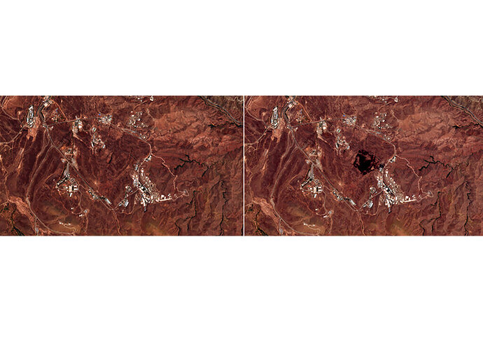 This Friday, June 26, 2020, photo combo from the European Commission's Sentinel-2 satellite shows the site of an explosion, before, left, and after, right, that rattled Iran's capital. Analysts say the blast came from an area in Tehran's eastern mountains that hides a underground tunnel system and missile production sites. The explosion appears to have charred hundreds of meters of scrubland. (European Commission via AP)