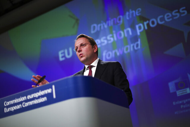 European Commissioner for Neighbourhood and Enlargement Oliver Varhelyi talks to journalists during a news conference at the European Commission headquarters in Brussels, Wednesday, Feb. 5, 2020. (AP Photo/Francisco Seco)