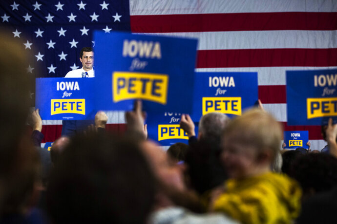 Democratic presidential candidate and South Bend, Ind. Mayor Pete Buttigieg speaks during a town hall, Sunday, Dec. 8, 2019, at the Coralville Marriott & Conference Center, in Coralville, Iowa. (Joseph Cress/Iowa City Press-Citizen via AP)