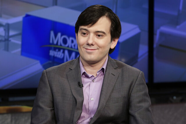 "FILE - In this Aug. 15, 2017 photo, Martin Shkreli is interviewed on the Fox Business Network in New York. A judge rejected the request of the convicted pharmaceutical executive to be let out of prison to research a coronavirus treatment, noting that probation officials viewed that claim as the type of ""delusional self-aggrandizing behavior"" that led to his conviction.  (AP Photo/Richard Drew, File)"