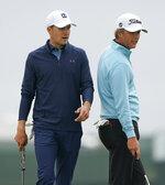 Jordan Spieth, left, talks with Matt Jones, of Australia during a practice round for the U.S. Open Golf Championship, Wednesday, June 13, 2018, in Southampton, N.Y. (AP Photo/Carolyn Kaster)