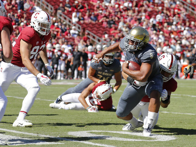 UC Davis linebacker Nas Anesi (8) runs back an interception against Stanford in the first half in an NCAA college football game in Stanford, Calif., Saturday, Sept. 15, 2018. (AP Photo/Jim Gensheimer)