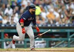 Boston Red Sox's Sandy Leon runs to first for a single during the fourth inning of a baseball game against the Detroit Tigers, Friday, July 5, 2019, in Detroit. (AP Photo/Carlos Osorio)