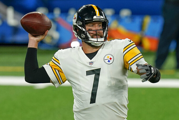 Pittsburgh Steelers quarterback Ben Roethlisberger (7) passes against the New York Giants during the second quarter of an NFL football game Monday, Sept. 14, 2020, in East Rutherford, N.J. (AP Photo/Seth Wenig)