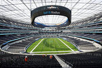 The playing field at SoFi Stadium, the future home for the Los Angeles Rams and Los Angeles Chargers football teams, is shown Friday, Sept. 4, 2020, in Inglewood, Calif. (AP Photo/Marcio Jose Sanchez)