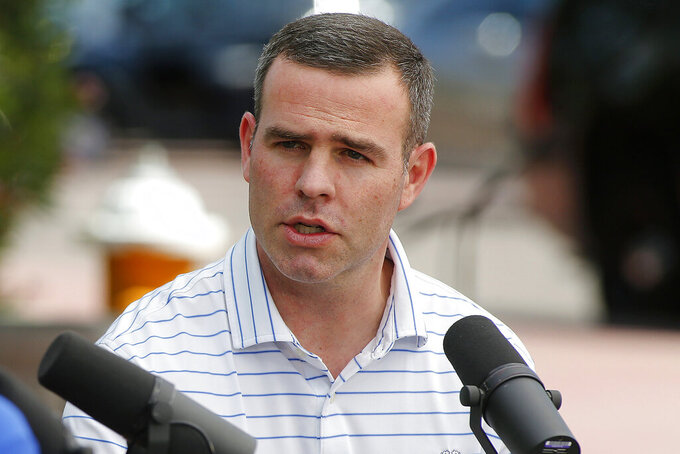 FILE - In this March 24, 2019, file photo, Buffalo Bills general manager Brandon Beane speaks during the annual NFL owners meetings in Phoenix. The 2020 NFL Draft is April 23-25.(AP Photo/Ralph Freso, File)