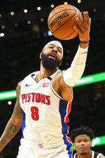 Detroit Pistons forward Markieff Morris (8) reaches for a rebound during the second half of an NBA basketball game against the Atlanta Hawks, Saturday, Jan. 18, 2020, in Atlanta. (AP Photo/John Amis)