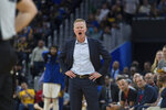 Golden State Warriors head coach Steve Kerr reacts after forward Draymond Green is called for a foul against Utah Jazz guard Mike Conley in the second half of an NBA basketball game in San Francisco, Monday, Nov. 11, 2019. The Jazz won 122-108. (AP Photo/John Hefti)