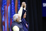 India Prime Minister Narendra Modi and President Donald Trump on stage during introductions at the