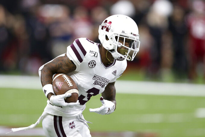 Mississippi State cornerback Cameron Dantzler (3) returns an interception against Louisiana-Lafayette during the first half of an NCAA college football game in New Orleans, Saturday, Aug. 31, 2019. (AP Photo/Chuck Cook)