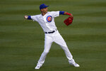 Chicago Cubs centerfield Albert Almora Jr., throws during an intra-squad baseball game at Wrigley Field in Chicago, Friday, July 10, 2020. (AP Photo/Nam Y. Huh)