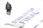 St. Louis Blues goaltender Jordan Binnington skates across the ice during the third period of Game 6 of the NHL hockey Stanley Cup Final against the Boston Bruins Sunday, June 9, 2019, in St. Louis. The Bruins won 5-1 to even the series 3-3. (AP Photo/Scott Kane)