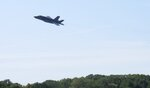 The first of two F-35 fighter jets makes a pass over the Vermont Air National Guard base, Thursday, Sept. 19, 2019, in South Burlington, Vt.  The first two of what will become 20 F-35 fighter aircrafts arrived Thursday at The Vermont Air National Guard, the first guard unit to receive the next-generation fighter. (AP Photo/Wilson Ring)