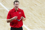 Nebraska head coach Fred Hoiberg works the sideline during an NCAA college basketball game against Rutgers, Monday, March 1, 2021, in Lincoln, Neb. (Kenneth Ferriera/Lincoln Journal Star via AP)
