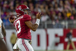 Alabama quarterback Tua Tagovailoa (13) throws during the first half of an NCAA college football game against Tennessee, Saturday, Oct. 19, 2019, in Tuscaloosa, Ala. (AP Photo/Vasha Hunt)