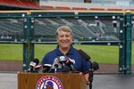 Rich Baseball operations president Mike Buczkowski addresses the media during a press conference announcing the Toronto Blue Jays will play their 2020 home games at Sahlen Field, their Triple-A affiliate, Friday, July 24, 2020, in Buffalo N.Y. (AP Photo/Jeffrey T. Barnes)