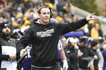 Northwestern head coach Pat Fitzgerald gestures to his team during the first half of an NCAA college football game against Iowa , Saturday, Oct. 26, 2019, in Evanston, Ill. (AP Photo/David Banks)
