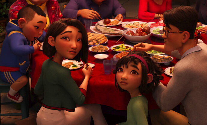 This image released by Netflix shows animated characters, from left, Chin, voiced by Robert G. Chiu, Mrs. Zhong, voiced by Sandra Oh, Fei Fei, voiced by Cathy Ang and Father, voiced by John Cho in a scene from
