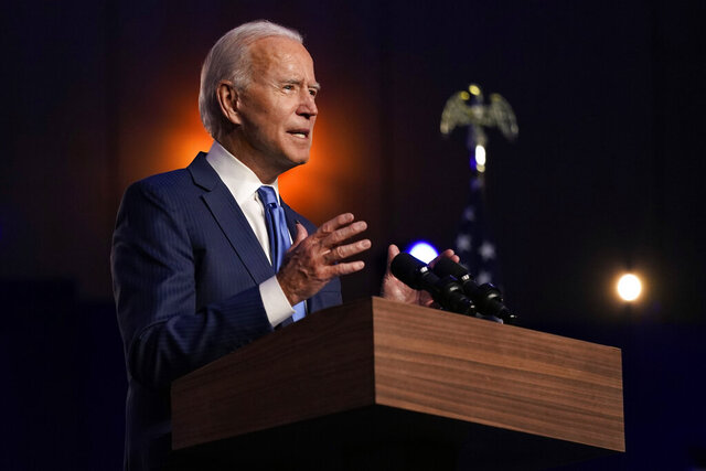 Democratic presidential candidate former Vice President Joe Biden speaks Friday, Nov. 6, 2020, in Wilmington, Del. (AP Photo/Carolyn Kaster)