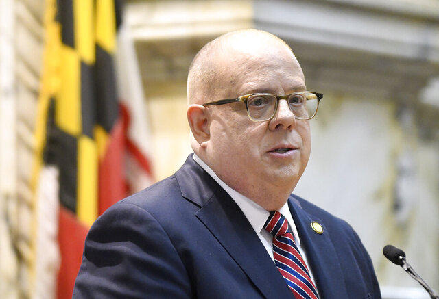Maryland Gov. Larry Hogan delivers his annual State of the State address to a joint session of the legislature in Annapolis, Md., Wednesday, Feb. 5, 2020. (AP Photo/Steve Ruark)