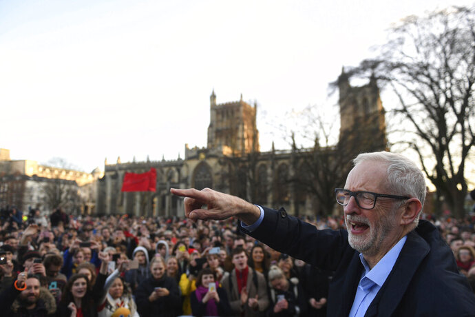 FILE - In this Monday, Dec. 9, 2019 file photo Labour Party leader Jeremy Corbyn speaks at a rally outside Bristol City Council while on the General Election campaign trail, in Bristol, England. (Joe Giddens/PA via AP)