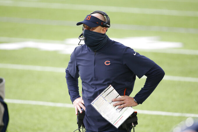 Chicago Bears head coach Matt Nagy watches from the sideline during the first half of an NFL football game against the Minnesota Vikings, Sunday, Dec. 20, 2020, in Minneapolis. (AP Photo/Bruce Kluckhohn)