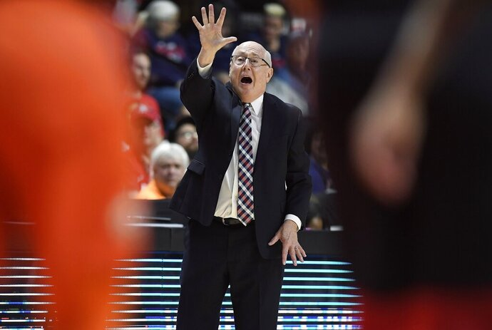 Washington Mystics head coach Mike Thibault gives instructions from the bench during the second half in Game 3 of basketball's WNBA Finals against the Connecticut Sun, Sunday, Oct. 6, 2019, in Uncasville, Conn. (AP Photo/Jessica Hill)