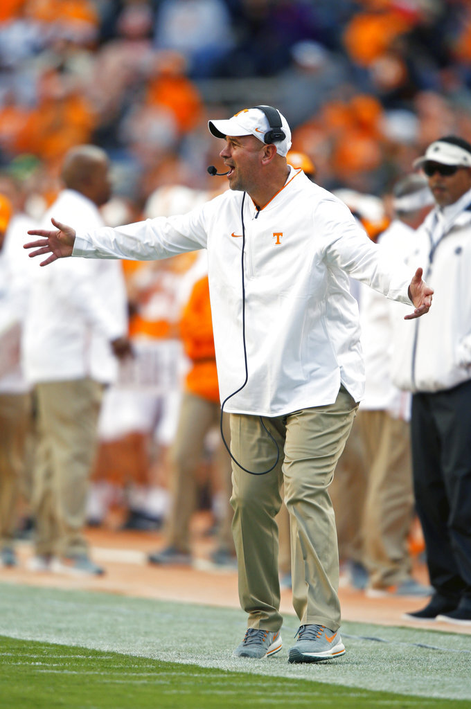 Tennessee head coach Jeremy Pruitt yells to his players in the first half of an NCAA college football game against Charlotte Saturday, Nov. 3, 2018, in Knoxville, Tenn. (AP Photo/Wade Payne)