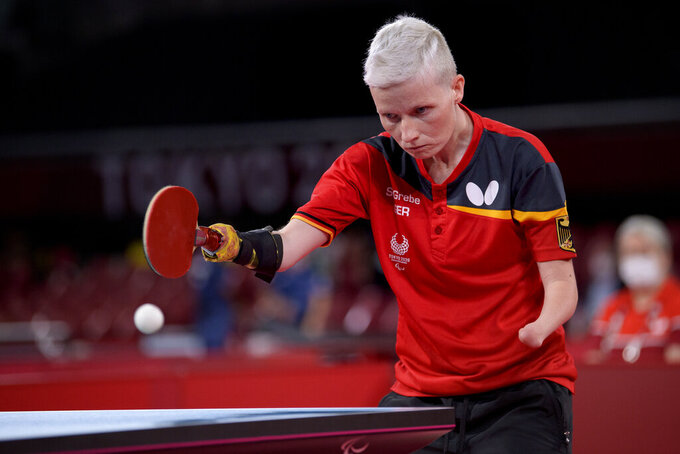 Stephanie Grebe of Germany competes in the women's single Class C6 table tennis match at the Tokyo 2020 Paralympic Games in Tokyo Thursday, Aug. 26, 2021. (Joel Marklund for OIS via AP)