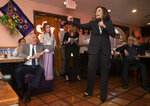 Democratic presidential candidate Sen. Kamala Harris, D-Calif., responds to a question during a Hispanics in Politics event at the Dona Maria Tamales restaurant in Las Vegas, Thursday, May 16, 2019. (Steve Marcus/Las Vegas Sun via AP)