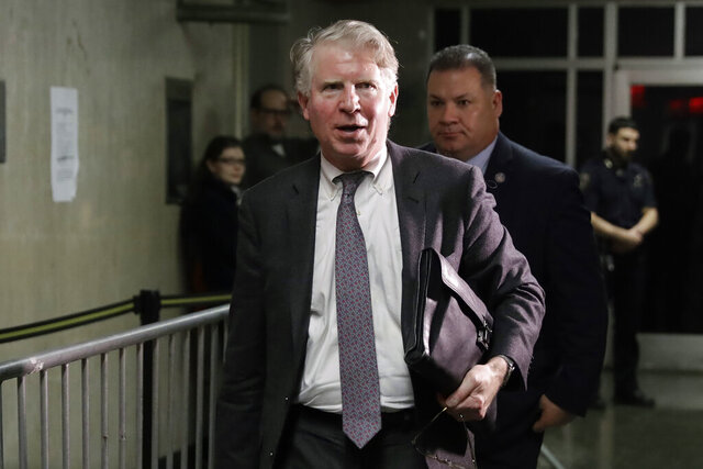 FILE - In this Friday, Feb. 7, 2020, file photo, Manhattan District Attorney Cyrus Vance Jr. leaves court, in New York. Vance, the New York prosecutor who has been fighting to get President Donald Trump's tax returns, got Deutsche Bank in 2019 to turn over other Trump financial records. (AP Photo/Richard Drew, File)