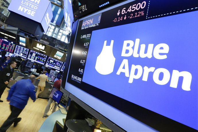 FILE- In this July 18, 2017, file photo, the Blue Apron logo appears above a trading post on the floor of the New York Stock Exchange. Blue Apron reports financial results Tuesday, Feb. 13, 2018. (AP Photo/Richard Drew, File)