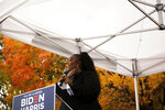 Lizzo speaks to the crowd while at a campaign event in Detroit for Democratic Presidential Candidate Joe Biden and Kamala Harris on Friday Oct. 23, 2020 in Detroit. (Nicole Hester/Ann Arbor News via AP)