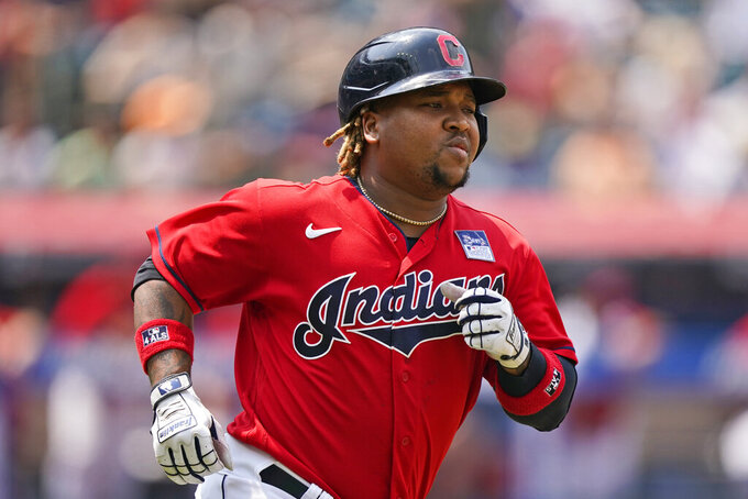 Cleveland Indians' Jose Ramirez runs the bases after hitting a solo home run in the third inning of a baseball game against the St. Louis Cardinals, Wednesday, July 28, 2021, in Cleveland. (AP Photo/Tony Dejak)