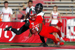 New Mexico wide receiver Cedric Patterson (11) misses a reception in the end zone as Hawaii defensive back James Green (34) defends during the second half of an NCAA college football game on Saturday, Oct. 26, 2019, in Albuquerque, N.M. (AP Photo/Andres Leighton)