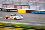 Brett Moffitt drives during the NASCAR Truck Series auto race at Las Vegas Motor Speedway on Friday, Sept. 25, 2020, in Las Vegas. (Ellen Schmidt/Las Vegas Review-Journal via AP)