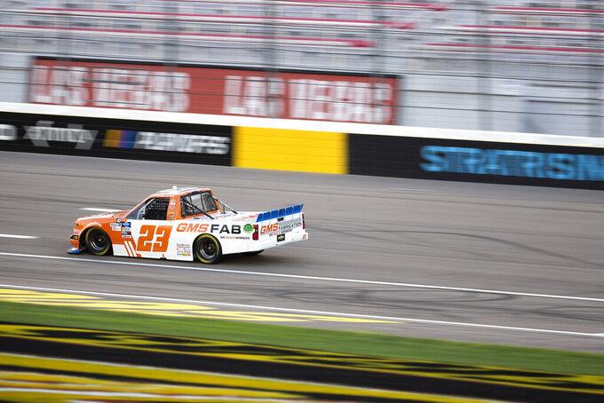 Brett Moffitt drives during the NASCAR Truck Series auto race at Las Vegas Motor Speedway on Friday, Sept. 25, 2020, in Las Vegas. (Ellen Schmidt/Las Vegas Review-Journal via AP)
