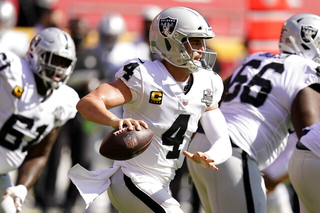 Las Vegas Raiders quarterback Derek Carr (4) looks to throw a pass during the first half of an NFL football game against the Kansas City Chiefs, Sunday, Oct. 11, 2020, in Kansas City. (AP Photo/Charlie Riedel)