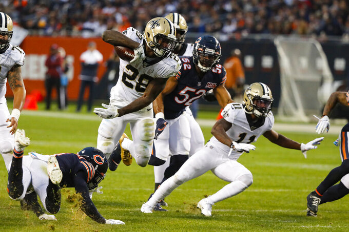 New Orleans Saints running back Latavius Murray (28) runs against the Chicago Bears during the second half of an NFL football game in Chicago, Sunday, Oct. 20, 2019. (AP Photo/Charles Rex Arbogast)