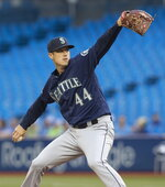 Seattle Mariners starting pitcher Matt Wisler throws to a Toronto Blue Jays batter during the first inning of a baseball game Friday, Aug. 16, 2019, in Toronto. (Fred Thornhill/The Canadian Press via AP)